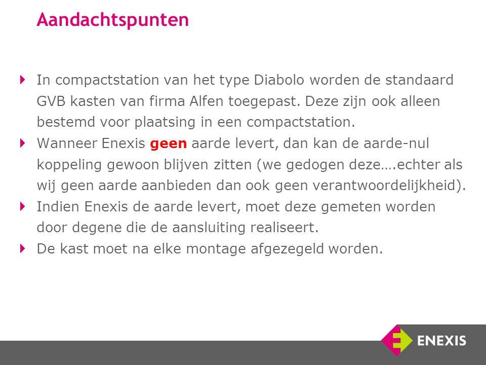 Aandachtspunten In compactstation van het type Diabolo worden de standaard GVB kasten van firma Alfen toegepast.