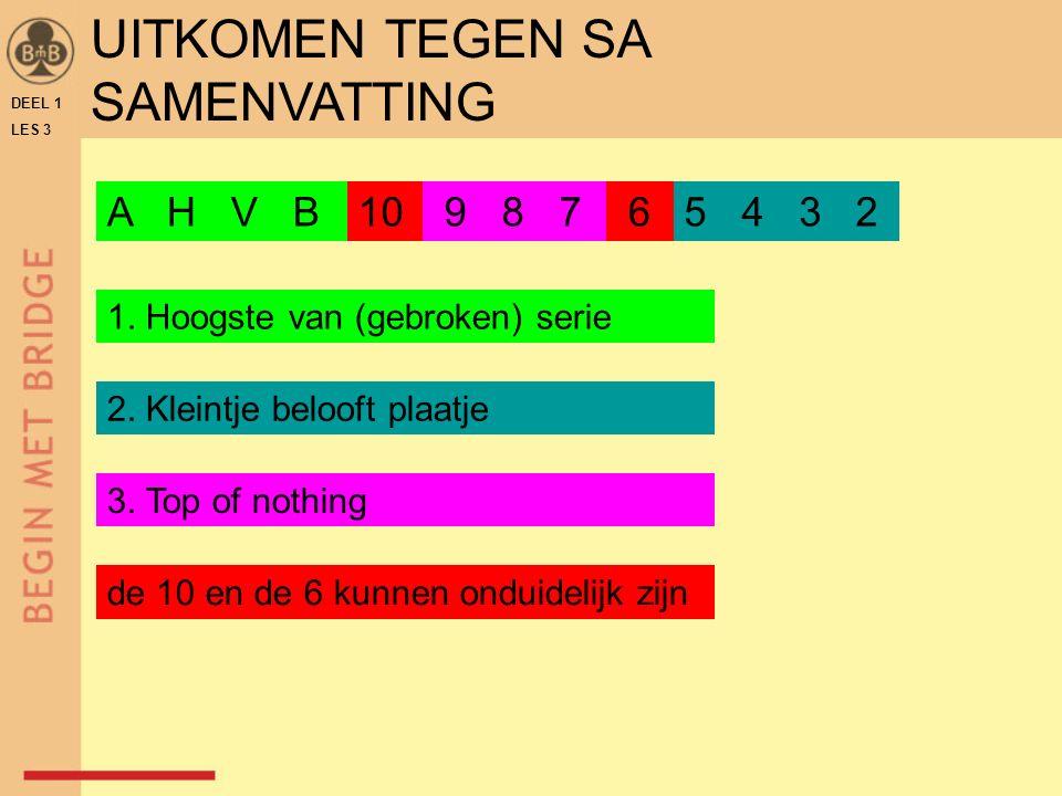 DEEL 1 LES 3 UITKOMEN TEGEN SA SAMENVATTING A H V B 9 8 710 65 4 3 2 1.