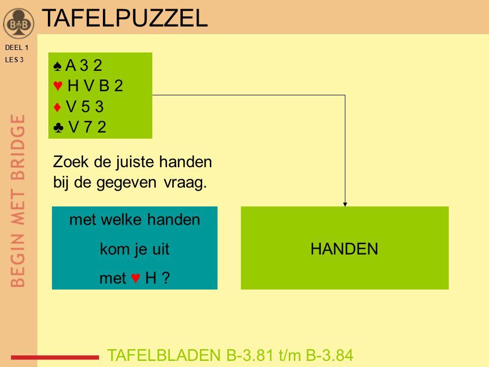 DEEL 1 LES 3 ♠ A 3 2 ♥ H V B 2 ♦ V 5 3 ♣ V 7 2 TAFELBLADEN B-3.81 t/m B-3.84 Zoek de juiste handen bij de gegeven vraag.