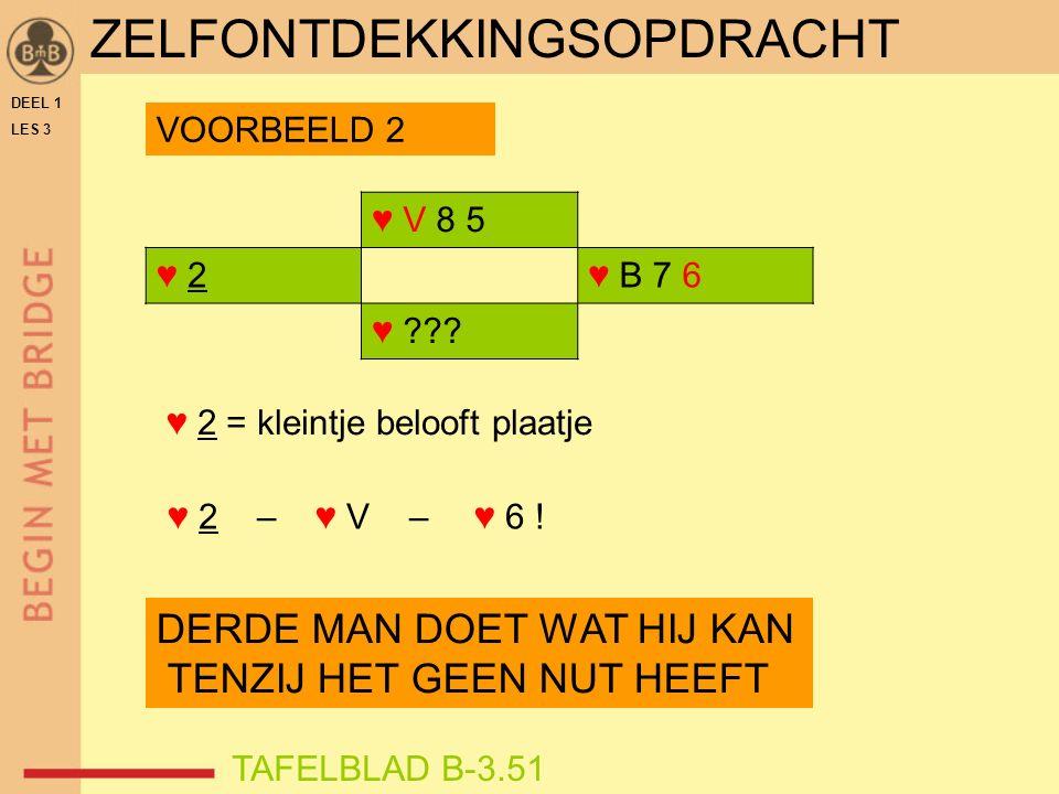 DEEL 1 LES 3 ZELFONTDEKKINGSOPDRACHT ♥ V 8 5 ♥ 2♥ 2♥ B 7 6 ♥ .