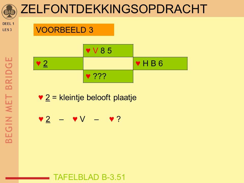 DEEL 1 LES 3 ZELFONTDEKKINGSOPDRACHT ♥ V 8 5 ♥ 2♥ 2♥ H B 6 ♥ .
