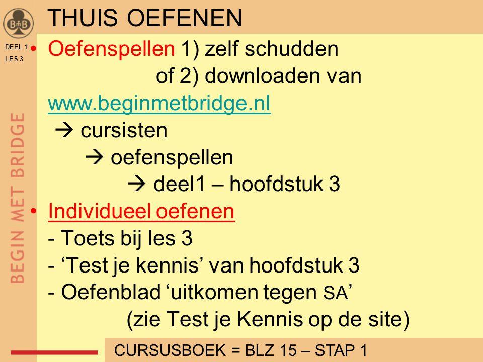 Oefenspellen 1) zelf schudden of 2) downloaden van www.beginmetbridge.nl  cursisten  oefenspellen  deel1 – hoofdstuk 3 Individueel oefenen - Toets bij les 3 - 'Test je kennis' van hoofdstuk 3 - Oefenblad 'uitkomen tegen SA ' (zie Test je Kennis op de site) DEEL 1 LES 3 THUIS OEFENEN CURSUSBOEK = BLZ 15 – STAP 1