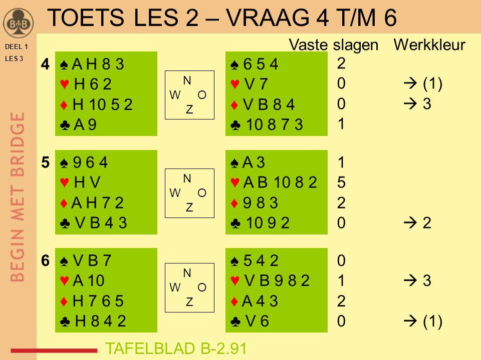 DEEL 1 LES 3 ♠ A H 8 3 ♥ H 6 2 ♦ H 10 5 2 ♣ A 9 ♠ 9 6 4 ♥ H V ♦ A H 7 2 ♣ V B 4 3 ♠ V B 7 ♥ A 10 ♦ H 7 6 5 ♣ H 8 4 2 ♠ 6 5 4 ♥ V 7 ♦ V B 8 4 ♣ 10 8 7 3 ♠ A 3 ♥ A B 10 8 2 ♦ 9 8 3 ♣ 10 9 2 ♠ 5 4 2 ♥ V B 9 8 2 ♦ A 4 3 ♣ V 6 N W O Z N W O Z N W O Z 2 0  (1) 0  3 1 5 2 0  2 0 1  3 2 0  (1) 4 5 6 TAFELBLAD B-2.91 Vaste slagen Werkkleur TOETS LES 2 – VRAAG 4 T/M 6