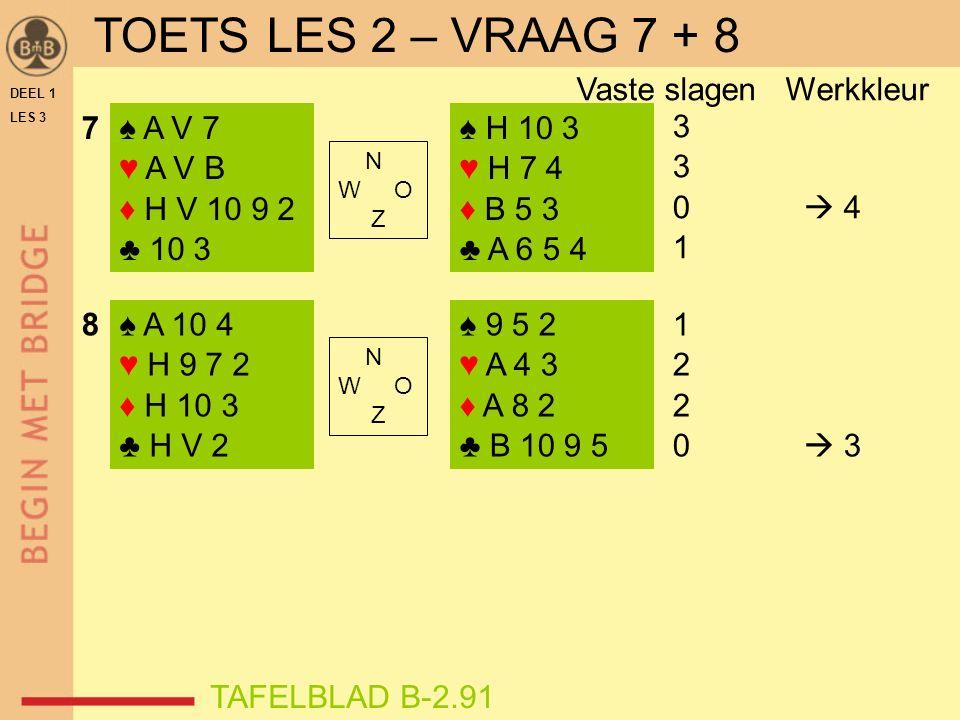 DEEL 1 LES 3 ♠ A V 7 ♥ A V B ♦ H V 10 9 2 ♣ 10 3 ♠ A 10 4 ♥ H 9 7 2 ♦ H 10 3 ♣ H V 2 ♠ H 10 3 ♥ H 7 4 ♦ B 5 3 ♣ A 6 5 4 ♠ 9 5 2 ♥ A 4 3 ♦ A 8 2 ♣ B 10 9 5 N W O Z N W O Z 3 0  4 1 2 0  3 7 8 TAFELBLAD B-2.91 Vaste slagen Werkkleur TOETS LES 2 – VRAAG 7 + 8