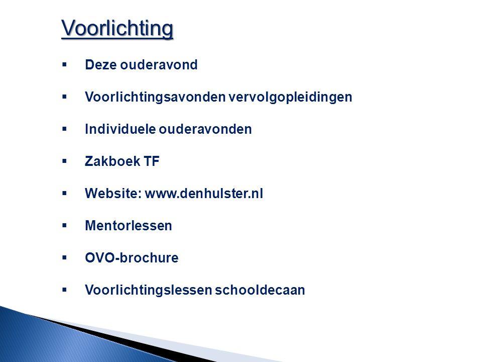 Voorlichting  Deze ouderavond  Voorlichtingsavonden vervolgopleidingen  Individuele ouderavonden  Zakboek TF  Website: www.denhulster.nl  Mentor