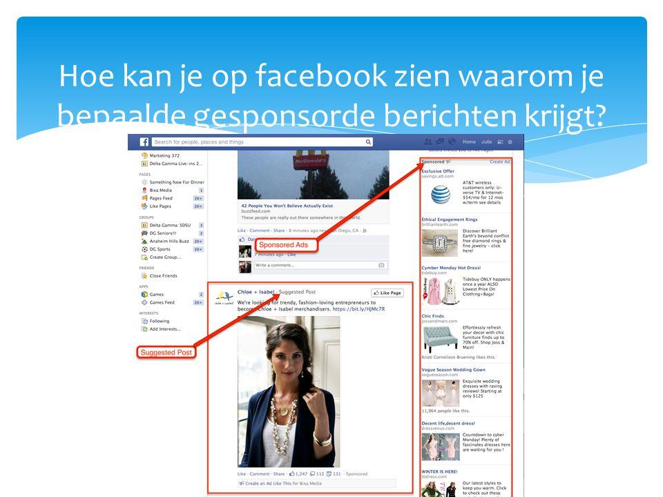 Hoe kan je op facebook zien waarom je bepaalde gesponsorde berichten krijgt