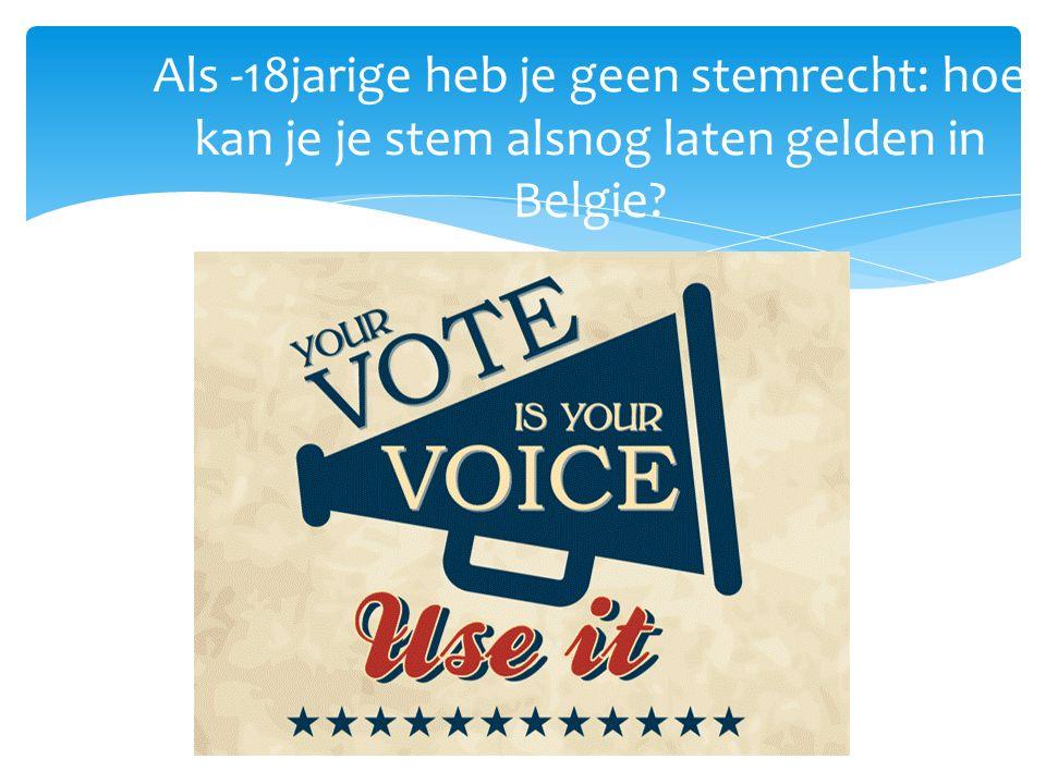 Als -18jarige heb je geen stemrecht: hoe kan je je stem alsnog laten gelden in Belgie