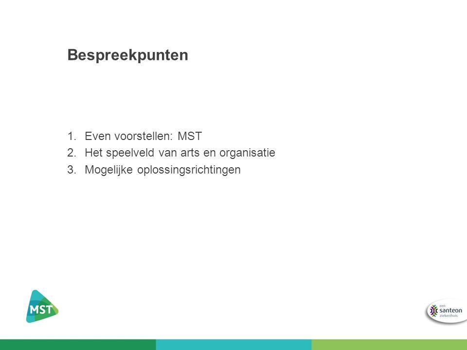 Bespreekpunten 1.Even voorstellen: MST 2.Het speelveld van arts en organisatie 3.Mogelijke oplossingsrichtingen