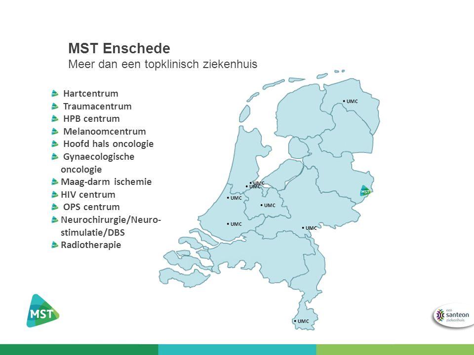 MST Enschede Meer dan een topklinisch ziekenhuis UMC Hartcentrum Traumacentrum HPB centrum Melanoomcentrum Hoofd hals oncologie Gynaecologische oncologie Maag-darm ischemie HIV centrum OPS centrum Neurochirurgie/Neuro- stimulatie/DBS Radiotherapie