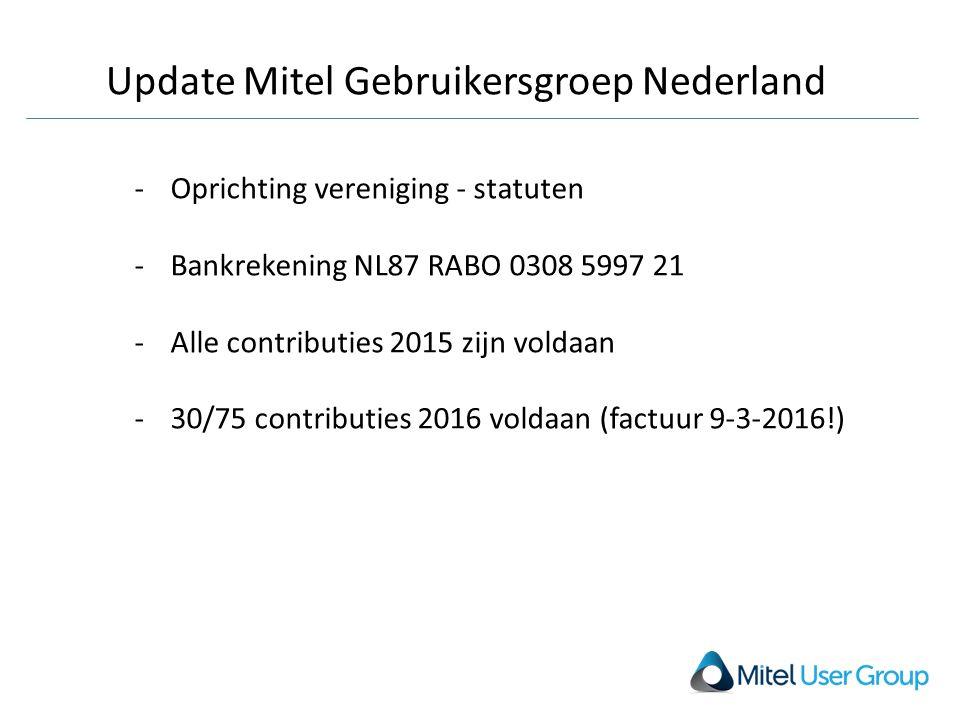 Update Mitel Gebruikersgroep Nederland -Oprichting vereniging - statuten -Bankrekening NL87 RABO 0308 5997 21 -Alle contributies 2015 zijn voldaan -30/75 contributies 2016 voldaan (factuur 9-3-2016!)