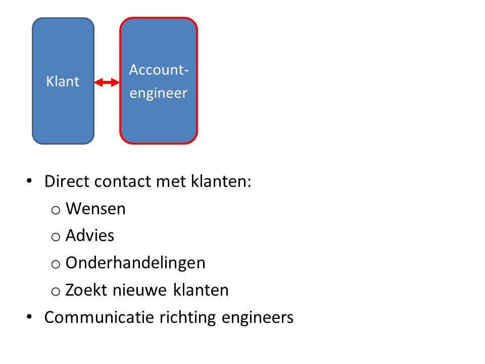 Klant Account- engineer Direct contact met klanten: o Wensen o Advies o Onderhandelingen o Zoekt nieuwe klanten Communicatie richting engineers