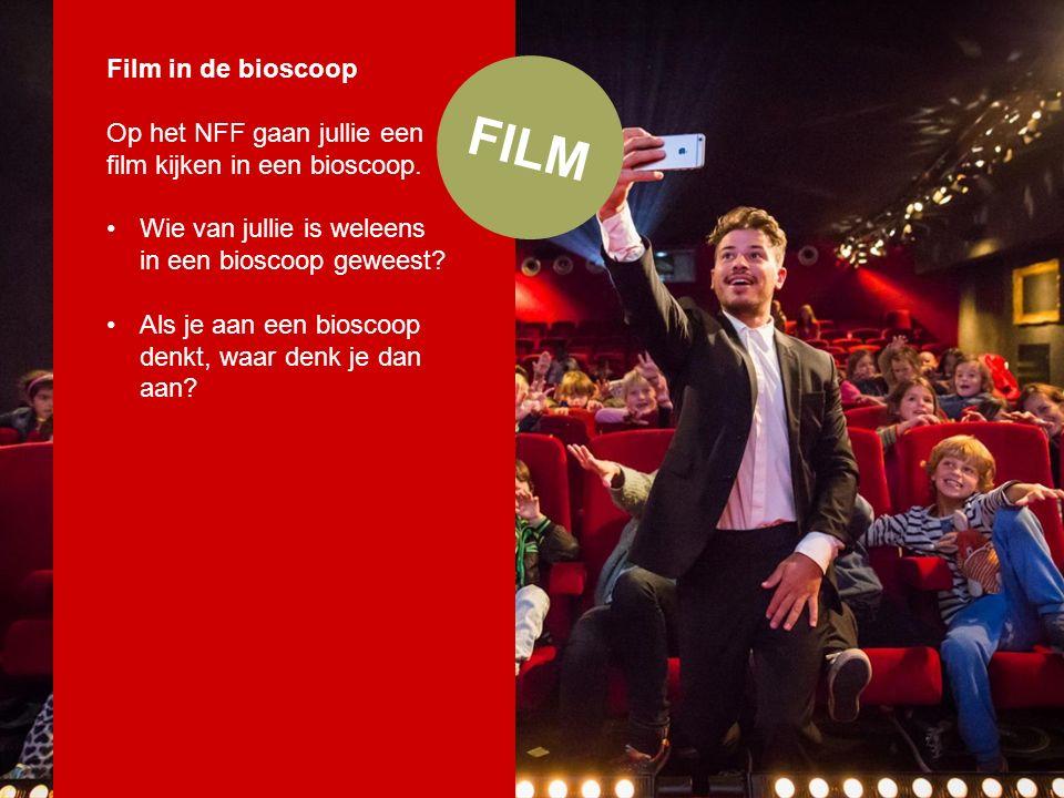 Film in de bioscoop In een bioscoop: Is een groot wit doek Is de zaal donker Zijn lange rijen (rode) stoelen Is het geluid hard Bekijk je samen met anderen een film