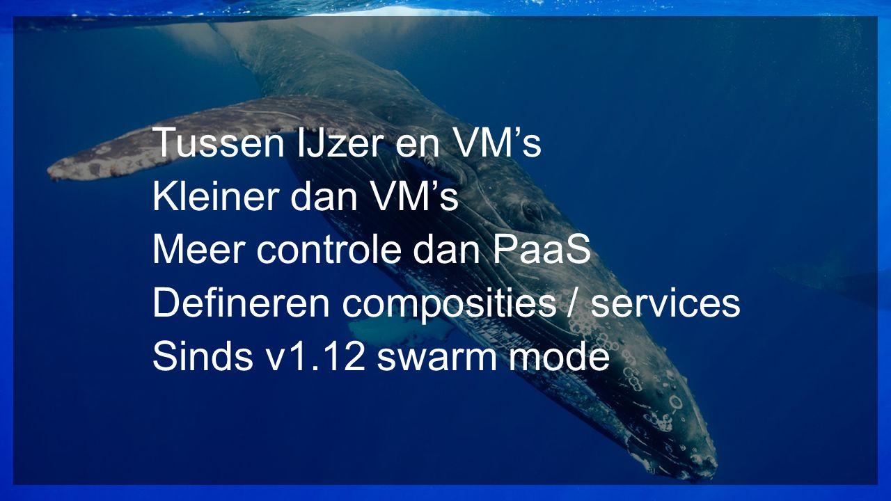 Tussen IJzer en VM's Kleiner dan VM's Meer controle dan PaaS Defineren composities / services Sinds v1.12 swarm mode