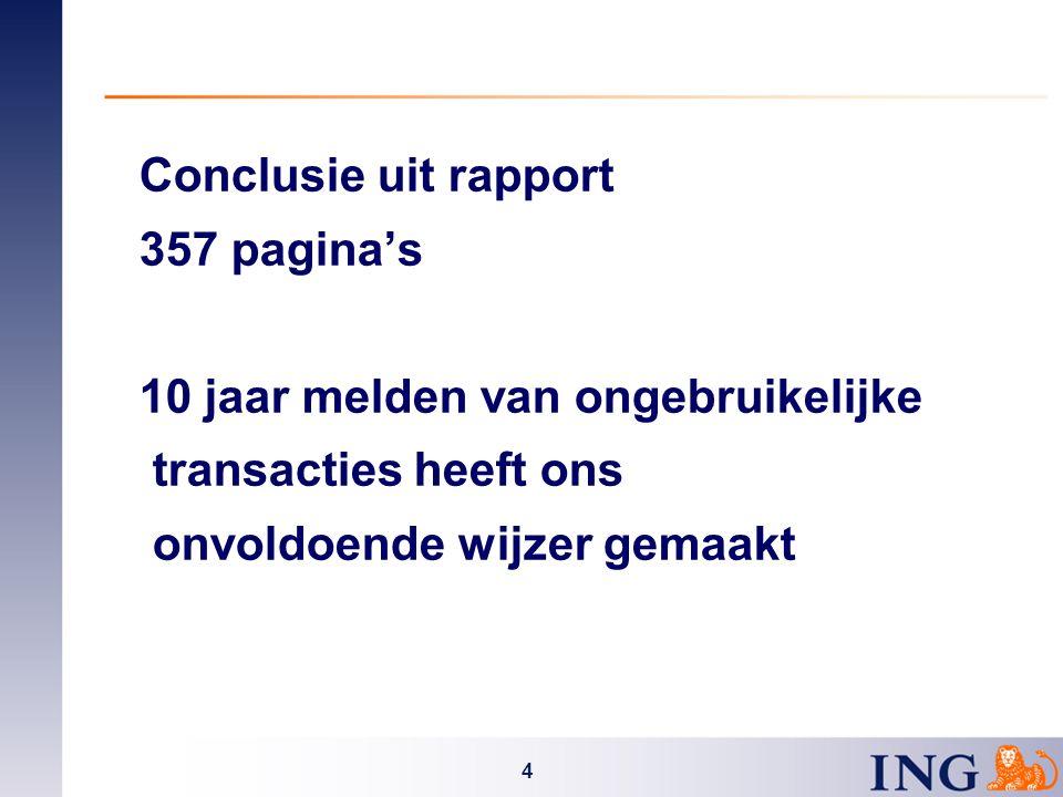 4 Conclusie uit rapport 357 pagina's 10 jaar melden van ongebruikelijke transacties heeft ons onvoldoende wijzer gemaakt