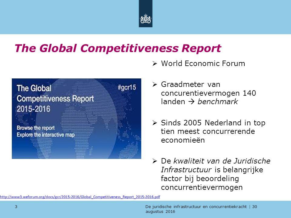 De juridische infrastructuur en concurrentiekracht | 30 augustus 2016 Voorbeelden van internationale ''V&J benchmarks'' 14