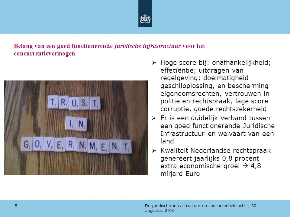 De juridische infrastructuur en concurrentiekracht | 30 augustus 2016 Het belang van internationaal vergelijkend onderzoek naar de Nederlandse Juridische Infrastructuur (Benchmark)  Enigszins geobjectiveerde en inzichtelijke beoordeling van de eigen prestaties van afzonderlijke V&J onderdelen  Juridische infrastructuur beïnvloed economische concurrentiepositie -> inzicht in relatieve positie van belang  Door verdergaande internationalisering is het onderkennen van eigen (V&J) positie steeds meer van belang 6