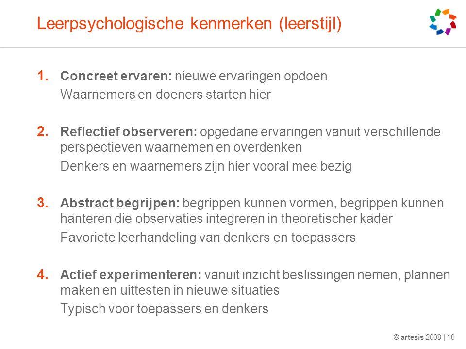 Leerpsychologische kenmerken (leerstijl) 1. Concreet ervaren: nieuwe ervaringen opdoen Waarnemers en doeners starten hier 2. Reflectief observeren: op