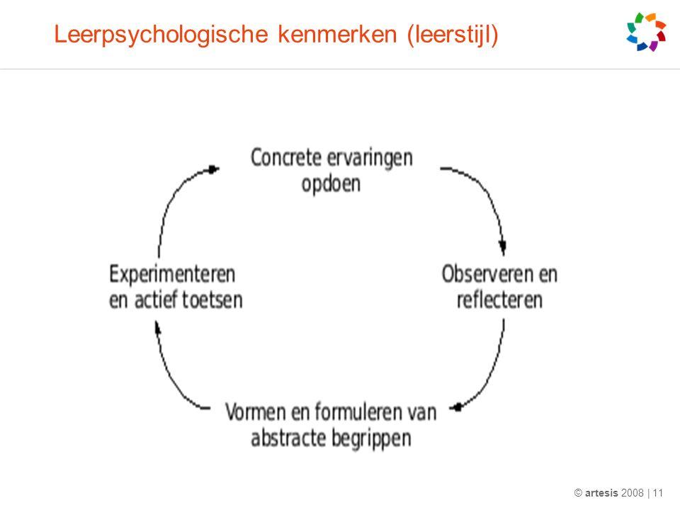 Leerpsychologische kenmerken (leerstijl) © artesis 2008 | 11