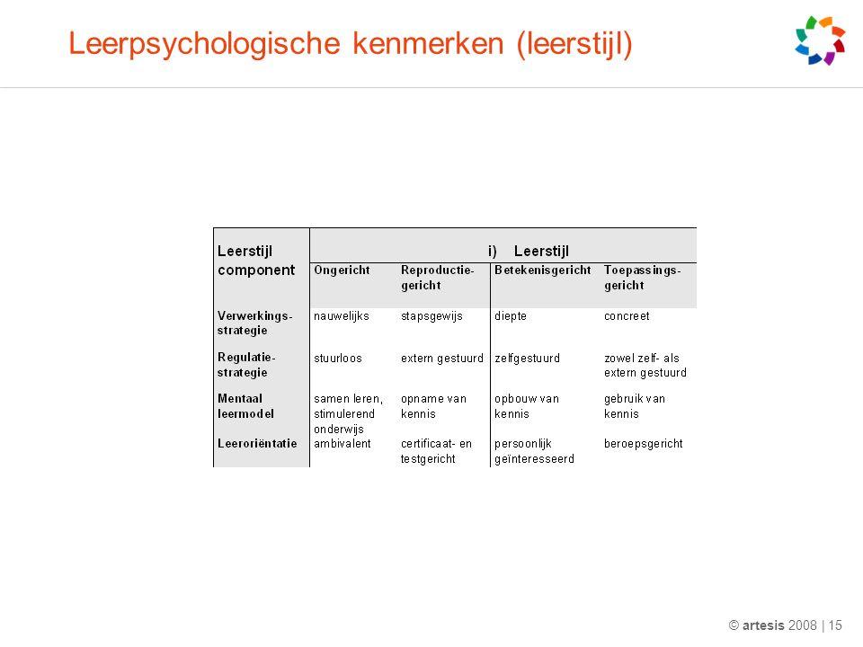 Leerpsychologische kenmerken (leerstijl) © artesis 2008 | 15