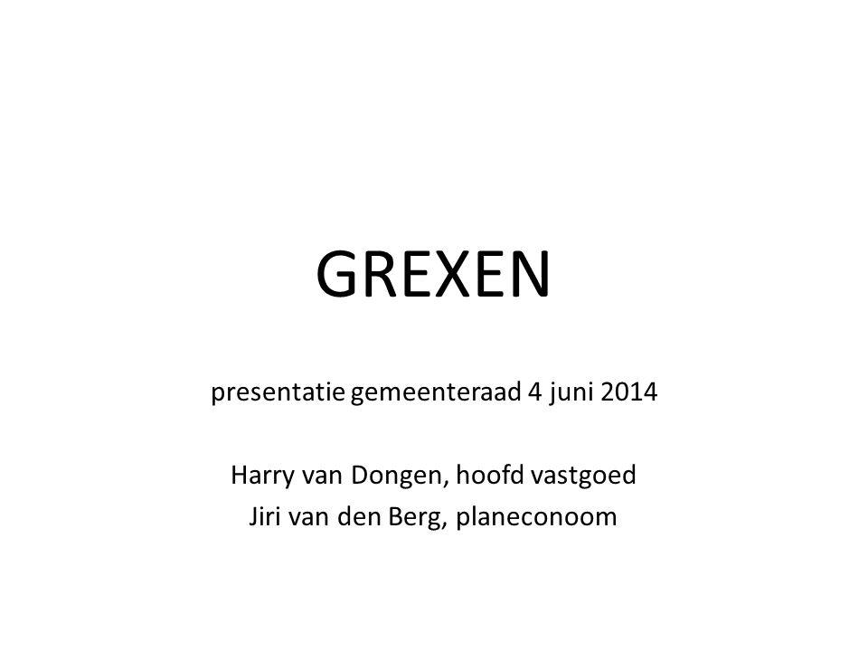 GREXEN presentatie gemeenteraad 4 juni 2014 Harry van Dongen, hoofd vastgoed Jiri van den Berg, planeconoom