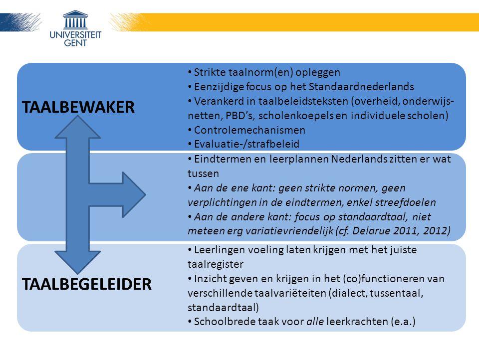 Strikte taalnorm(en) opleggen Eenzijdige focus op het Standaardnederlands Verankerd in taalbeleidsteksten (overheid, onderwijs- netten, PBD's, scholenkoepels en individuele scholen) Controlemechanismen Evaluatie-/strafbeleid Eindtermen en leerplannen Nederlands zitten er wat tussen Aan de ene kant: geen strikte normen, geen verplichtingen in de eindtermen, enkel streefdoelen Aan de andere kant: focus op standaardtaal, niet meteen erg variatievriendelijk (cf.