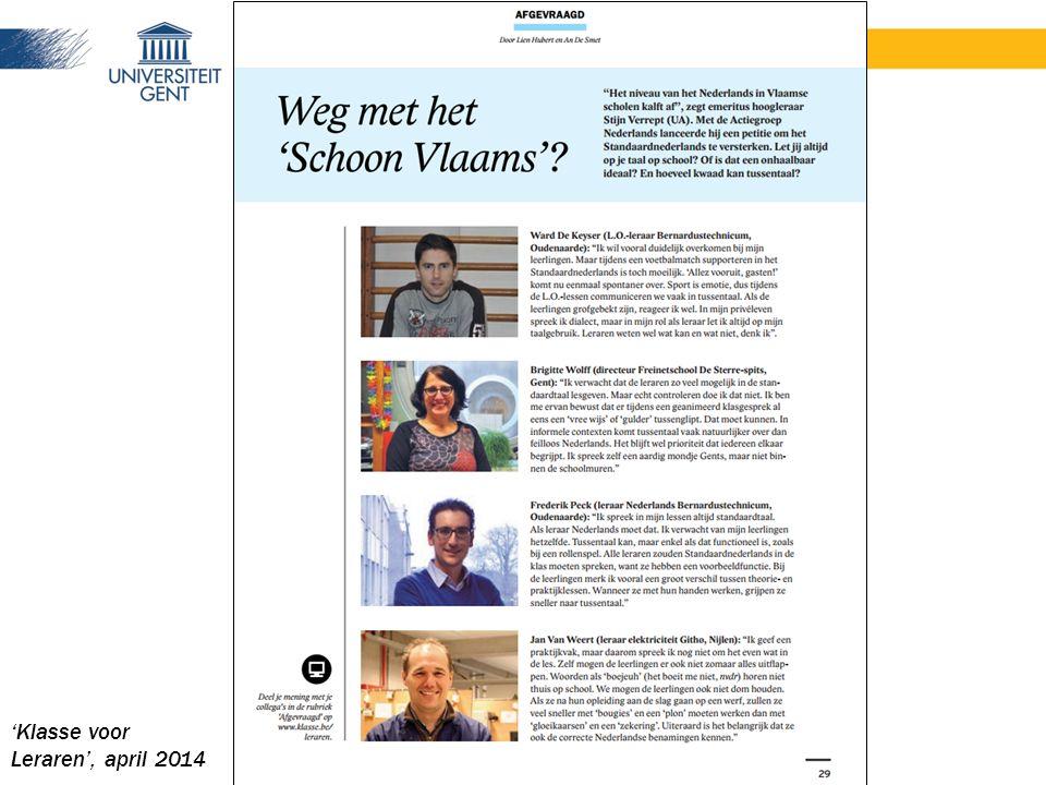 'Klasse voor Leraren', april 2014