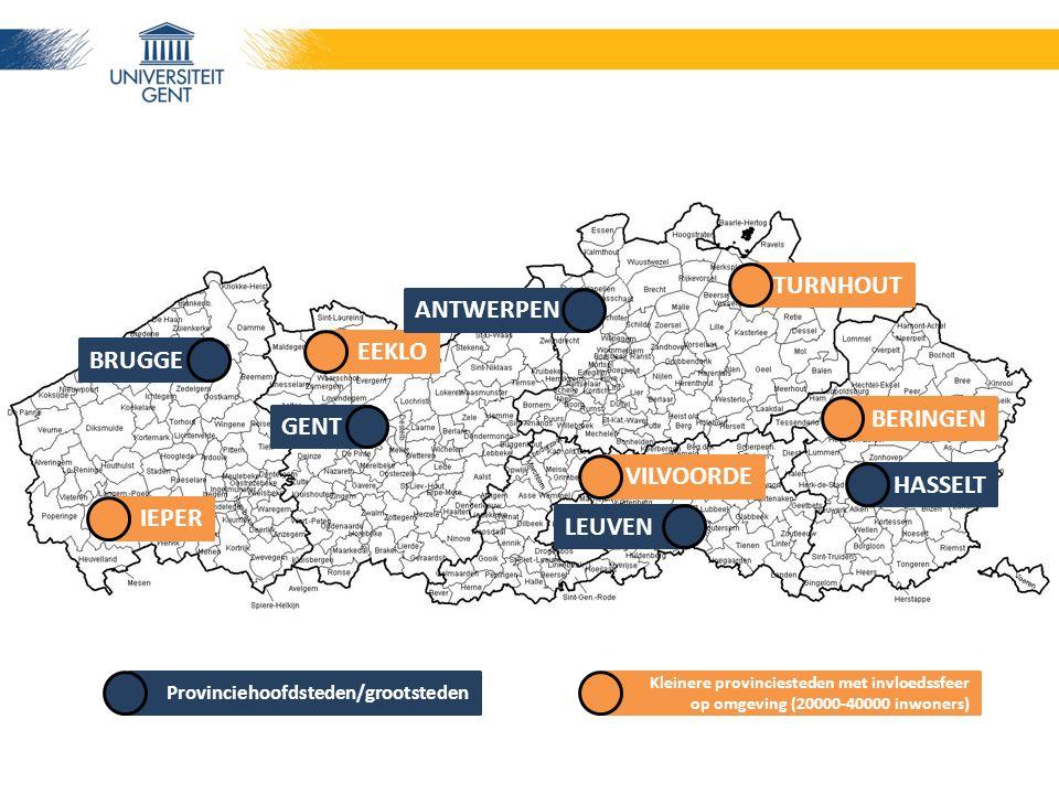 Provinciehoofdsteden/grootsteden IEPER EEKLO TURNHOUT VILVOORDE BERINGEN BRUGGE GENT LEUVEN ANTWERPEN HASSELT Kleinere provinciesteden met invloedssfeer op omgeving (20000-40000 inwoners)