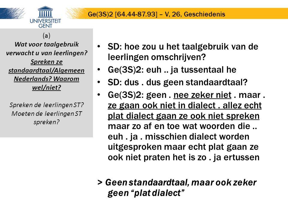 SD: hoe zou u het taalgebruik van de leerlingen omschrijven? Ge(3S)2: euh.. ja tussentaal he SD: dus. dus geen standaardtaal? Ge(3S)2: geen. nee zeker