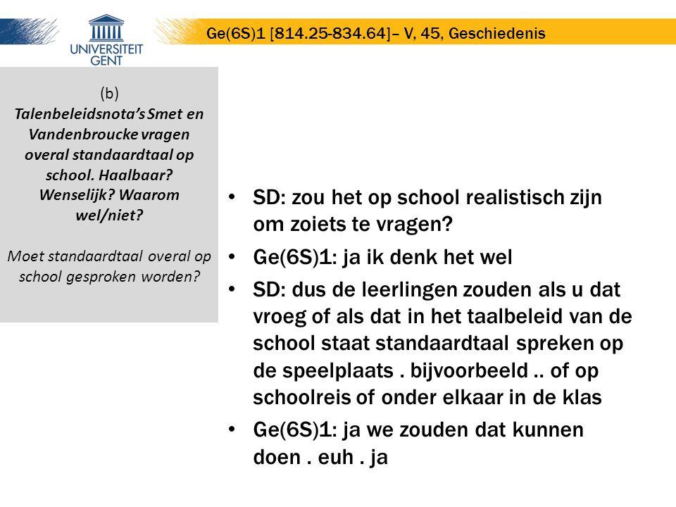 SD: zou het op school realistisch zijn om zoiets te vragen? Ge(6S)1: ja ik denk het wel SD: dus de leerlingen zouden als u dat vroeg of als dat in het