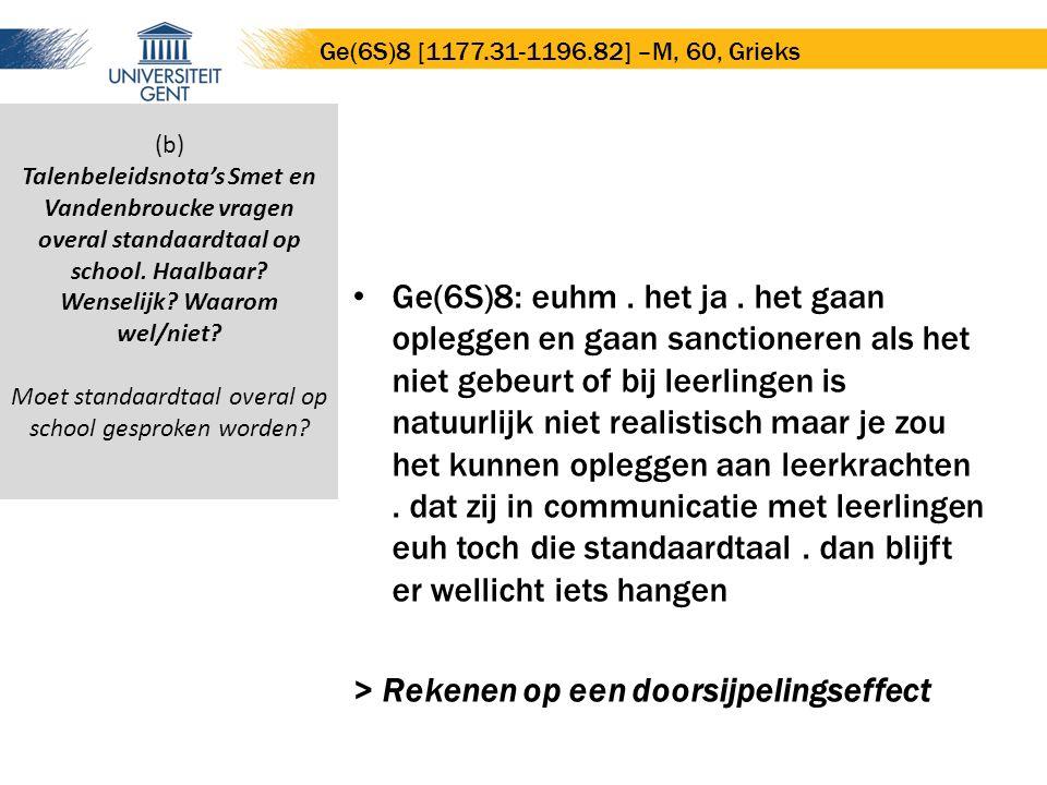 Ge(6S)8: euhm. het ja. het gaan opleggen en gaan sanctioneren als het niet gebeurt of bij leerlingen is natuurlijk niet realistisch maar je zou het ku
