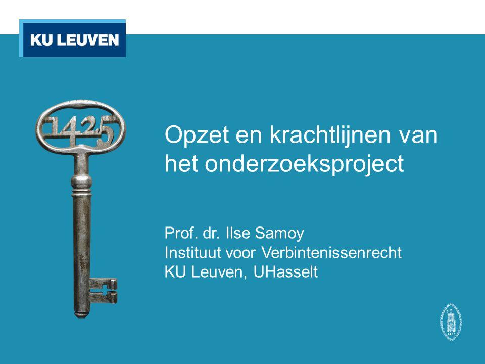Opzet en krachtlijnen van het onderzoeksproject Prof.