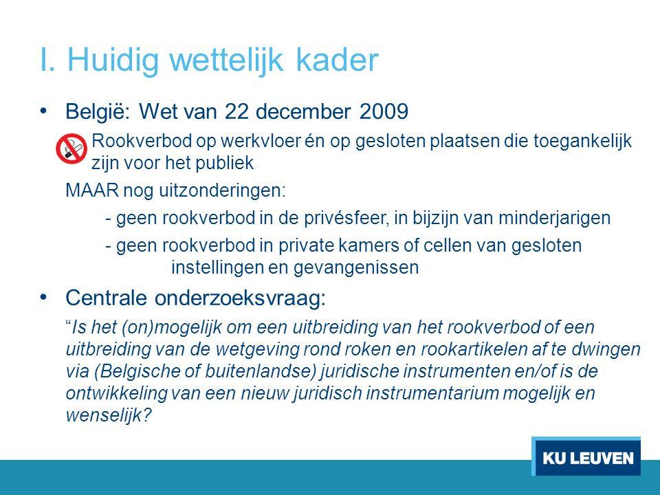 I. Huidig wettelijk kader België: Wet van 22 december 2009 o Rookverbod op werkvloer én op gesloten plaatsen die toegankelijk zijn voor het publiek MA