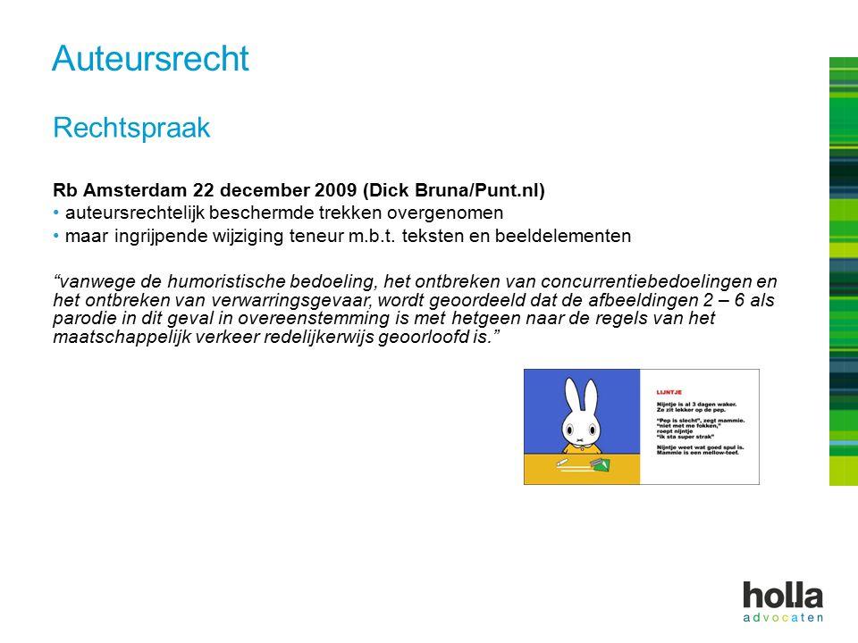 Rechtspraak Rb Amsterdam 22 december 2009 (Dick Bruna/Punt.nl) auteursrechtelijk beschermde trekken overgenomen maar ingrijpende wijziging teneur m.b.