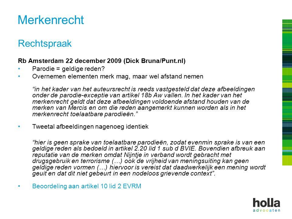 Rechtspraak Rb Amsterdam 22 december 2009 (Dick Bruna/Punt.nl) Parodie = geldige reden.