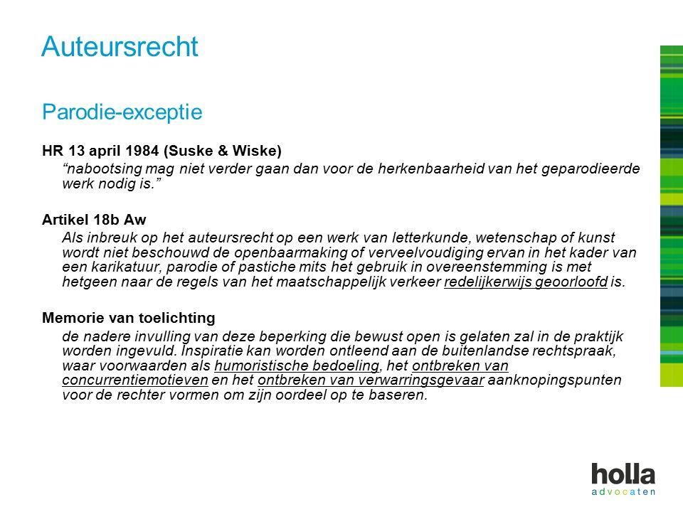 """Auteursrecht Parodie-exceptie HR 13 april 1984 (Suske & Wiske) """"nabootsing mag niet verder gaan dan voor de herkenbaarheid van het geparodieerde werk"""