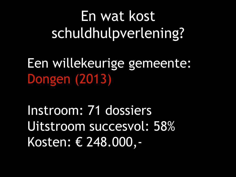 En wat kost schuldhulpverlening? Een willekeurige gemeente: Dongen (2013) Instroom: 71 dossiers Uitstroom succesvol: 58% Kosten: € 248.000,-