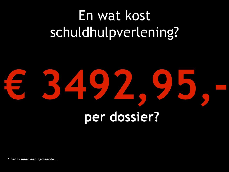 En wat kost schuldhulpverlening? € 3492,95,- per dossier? * het is maar een gemeente…