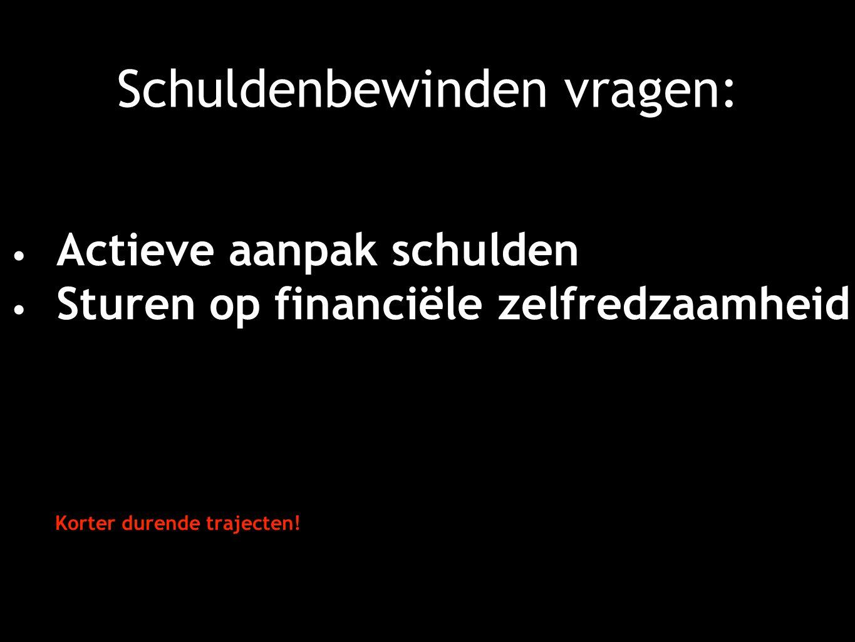 Schuldenbewinden vragen: Actieve aanpak schulden Sturen op financiële zelfredzaamheid Korter durende trajecten!