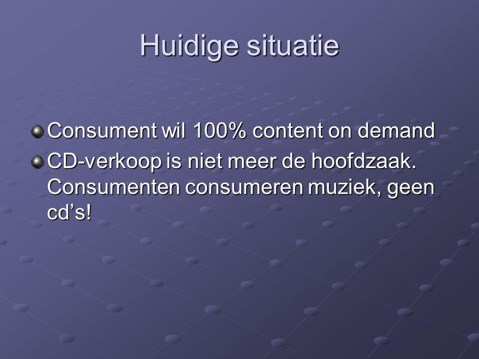 Huidige situatie Consument wil 100% content on demand CD-verkoop is niet meer de hoofdzaak. Consumenten consumeren muziek, geen cd's!