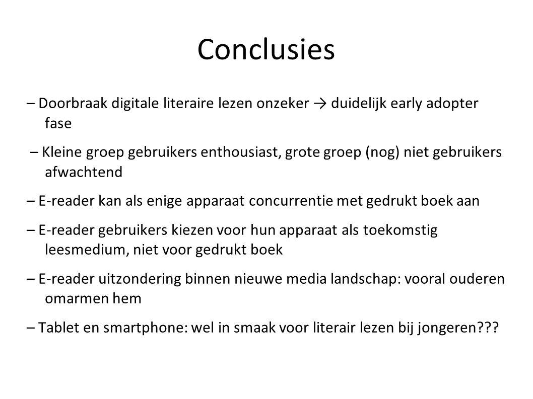 Conclusies – Doorbraak digitale literaire lezen onzeker → duidelijk early adopter fase – Kleine groep gebruikers enthousiast, grote groep (nog) niet g