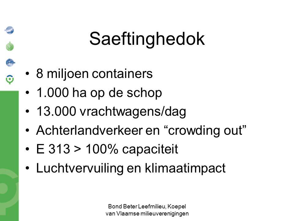 Bond Beter Leefmilieu, Koepel van Vlaamse milieuverenigingen Saeftinghedok 8 miljoen containers 1.000 ha op de schop 13.000 vrachtwagens/dag Achterlan