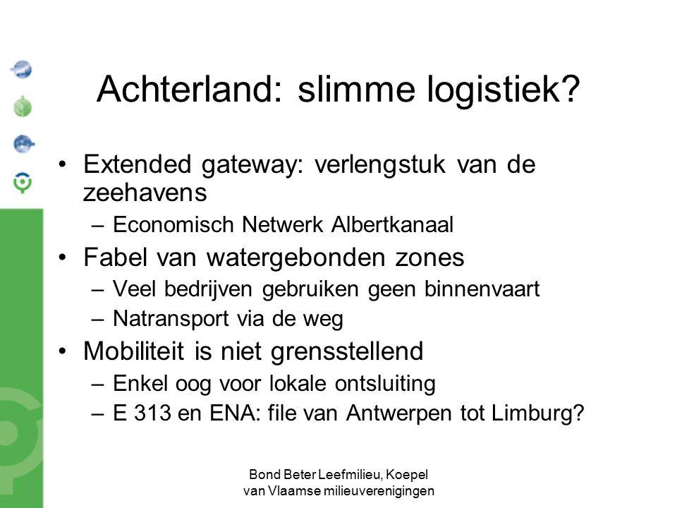 Bond Beter Leefmilieu, Koepel van Vlaamse milieuverenigingen Achterland: slimme logistiek? Extended gateway: verlengstuk van de zeehavens –Economisch