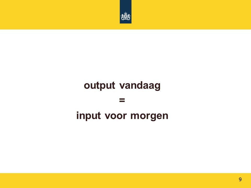 output vandaag = input voor morgen 9