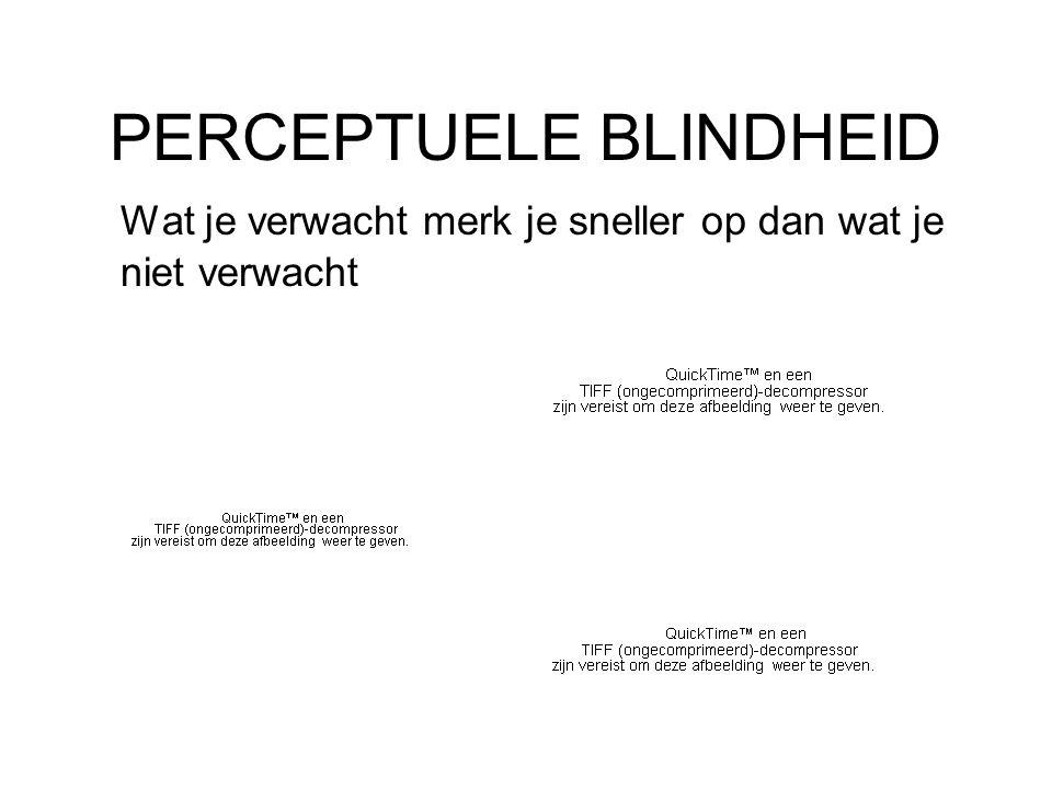 PERCEPTUELE BLINDHEID Wat je verwacht merk je sneller op dan wat je niet verwacht