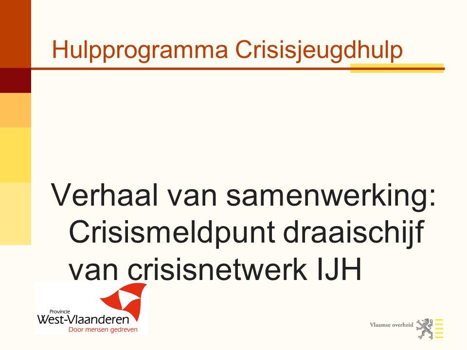 Hulpprogramma Crisisjeugdhulp Vangnet voor minderjarigen (0-18) in crisis Meer ingrijpende hulp voorkomen + veiligheid installeren Sinds 1 december 2008 Een samenwerkingsverband tussen meer dan 30 jeugdhulpvoorzieningen in West- Vlaanderen
