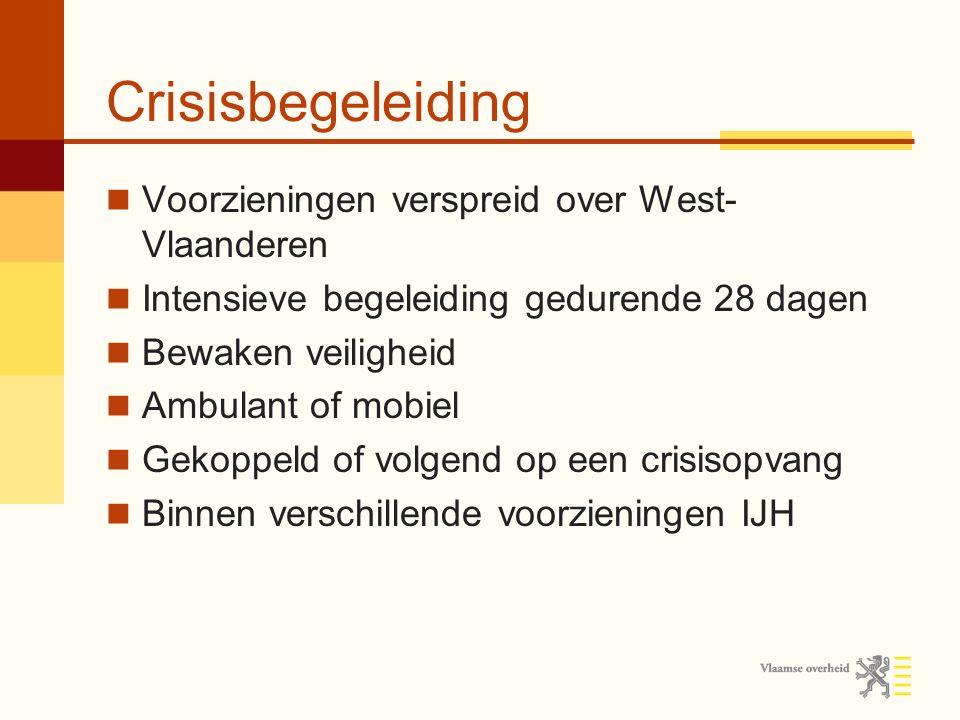 Crisisbegeleiding Voorzieningen verspreid over West- Vlaanderen Intensieve begeleiding gedurende 28 dagen Bewaken veiligheid Ambulant of mobiel Gekoppeld of volgend op een crisisopvang Binnen verschillende voorzieningen IJH