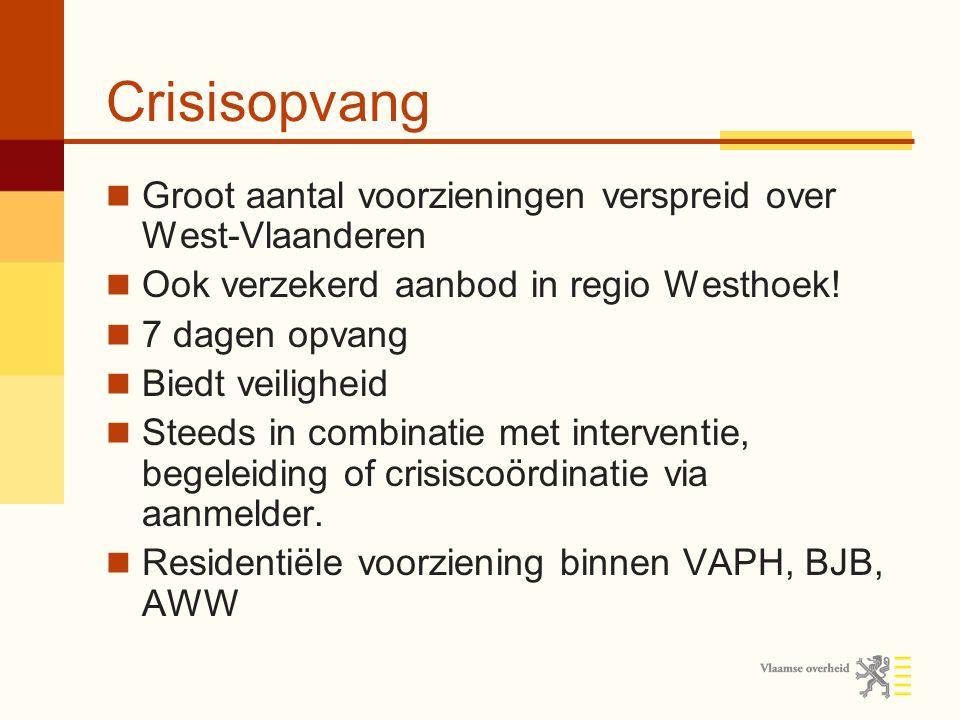Crisisopvang Groot aantal voorzieningen verspreid over West-Vlaanderen Ook verzekerd aanbod in regio Westhoek.