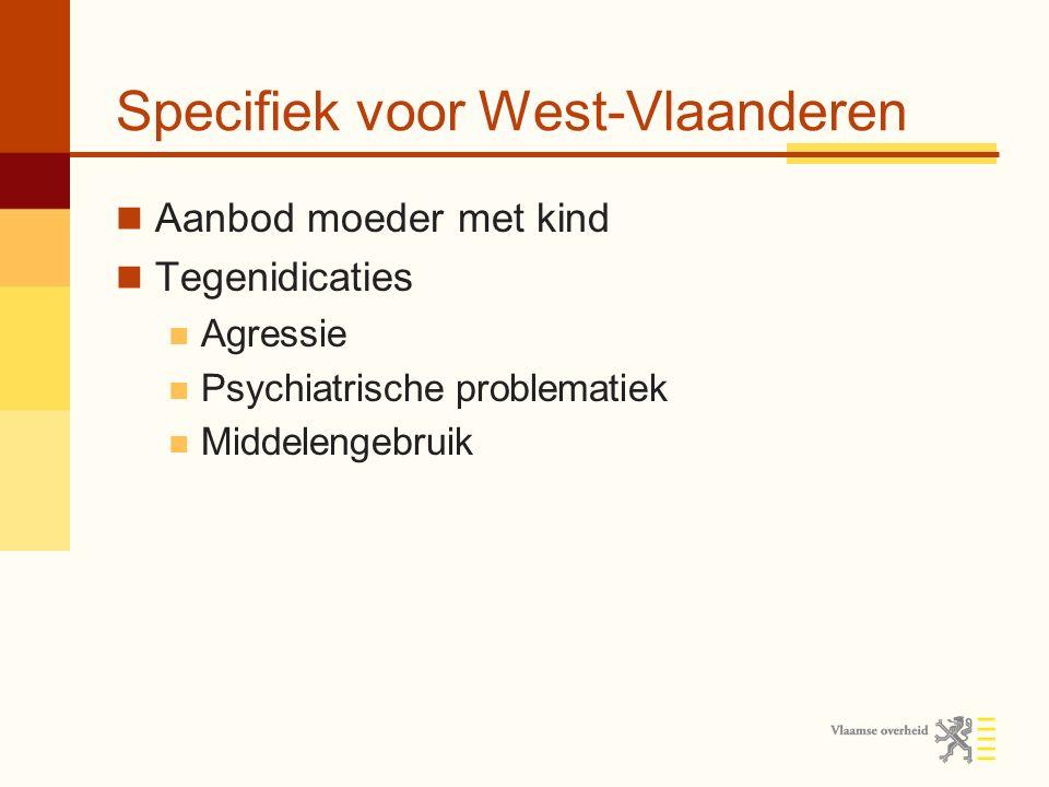 Specifiek voor West-Vlaanderen Aanbod moeder met kind Tegenidicaties Agressie Psychiatrische problematiek Middelengebruik