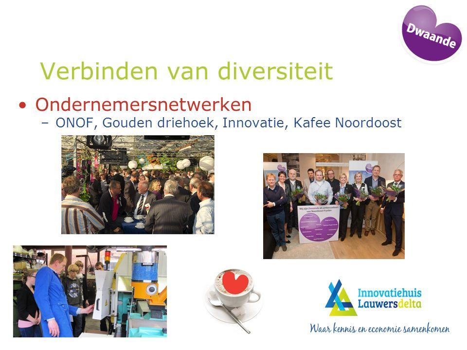 Verbinden van diversiteit Ondernemersnetwerken –ONOF, Gouden driehoek, Innovatie, Kafee Noordoost
