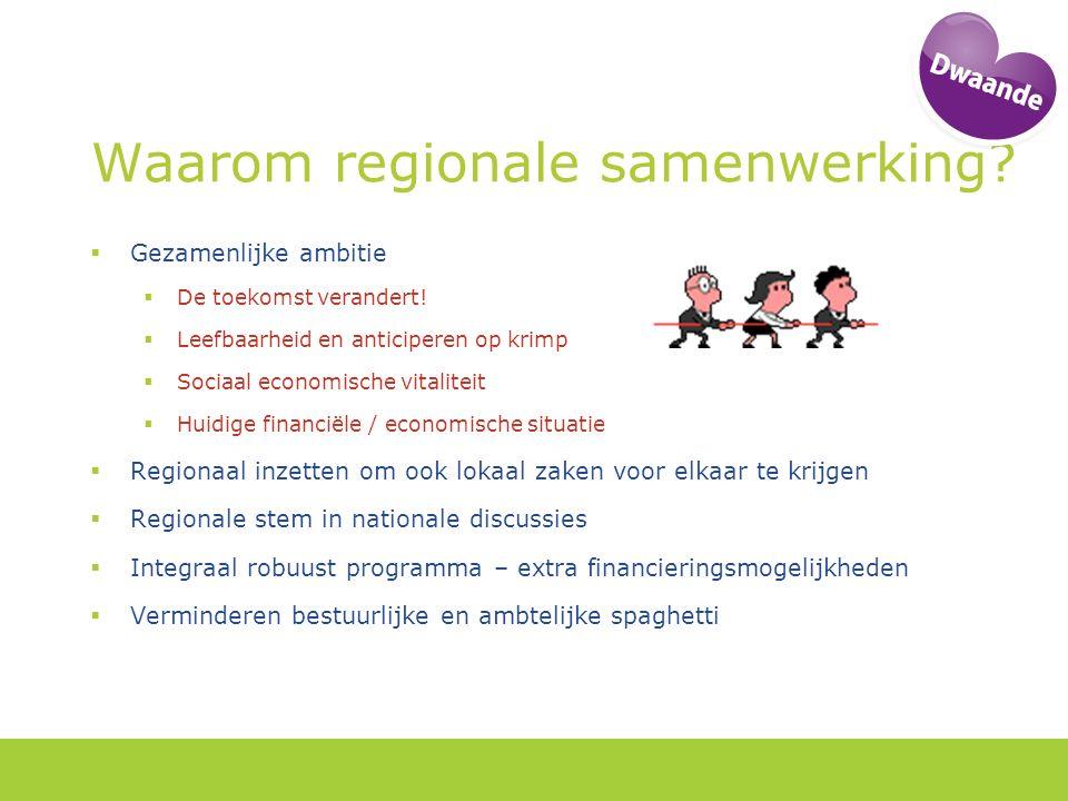 Waarom regionale samenwerking. Gezamenlijke ambitie  De toekomst verandert.